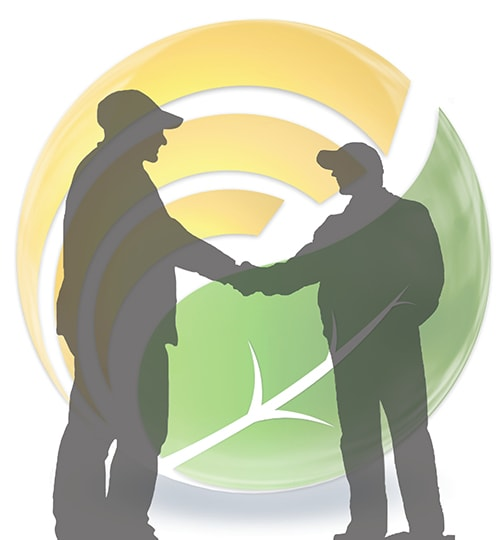 logo with farmers shaking hands